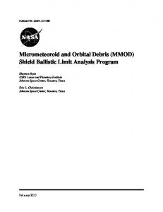 Micrometeoroid and Orbital Debris (MMOD) Shield ... - CiteSeerX