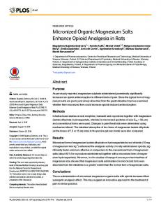 Micronized Organic Magnesium Salts Enhance