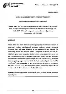 microorganisms in confectionery products - The Journal of ...
