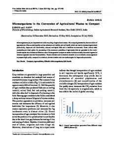 Microorganisms in the Conversion of Agricultural