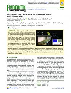 Microplastic Effect Thresholds for Freshwater ... - ACS Publications