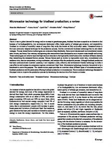 Microreactor technology for biodiesel production: a