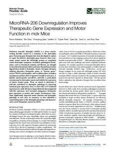 MicroRNA-206 Downregulation Improves Therapeutic ... - Cell Press