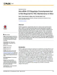 MicroRNA-223 Regulates Granulopoiesis but Is Not Required ... - PLOS