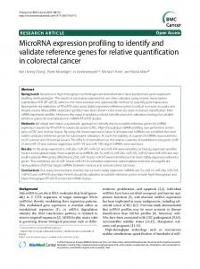 MicroRNA expression profiling to identify and ... - Gene Quantification