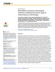 MicroRNAs and histone deacetylase inhibition-mediated ... - Plos