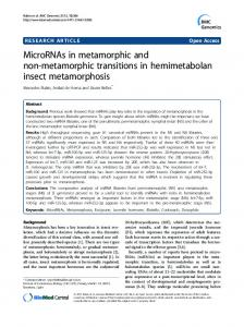 MicroRNAs in metamorphic and non-metamorphic transitions in ...
