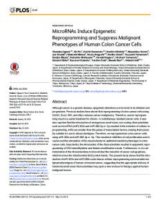 MicroRNAs Induce Epigenetic Reprogramming and Suppress ... - Plos