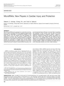 MicroRNAs: New Players in Cardiac Injury and Protection - Molecular ...