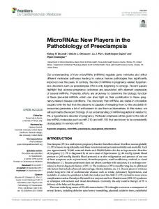 MicroRNAs: New Players in the Pathobiology of ... - Semantic Scholar