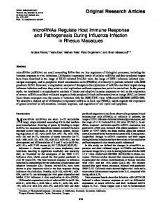 microRNAs Regulate Host Immune Response and Pathogenesis ...