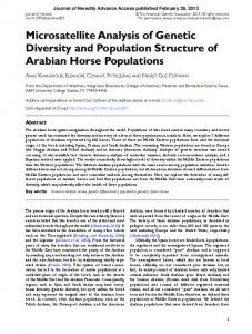 Microsatellite Analysis of Genetic Diversity and Population Structure of ...