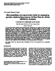 Microsatellites and agronomic traits for assessing genetic ...