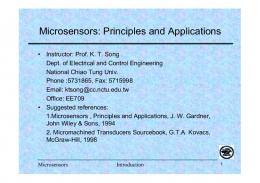 Microsensors: Principles and Applications