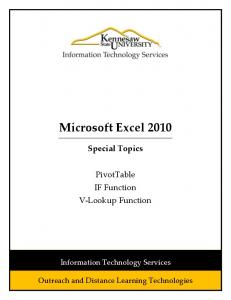 Microsoft Excel 2010 - Kennesaw State University