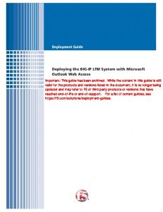 Microsoft Exchange Outlook Web Access 2003 (BIG ... - F5 Networks