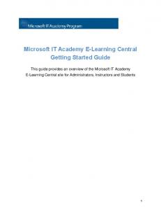 Microsoft IT Academy E-Learning Central Getting ... - Download Center