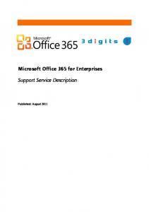 Microsoft Office 365 - Enterprises - Support - Service Description
