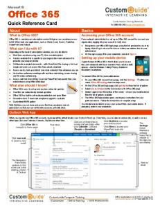 Microsoft Office 365 - Quick Reference Guide