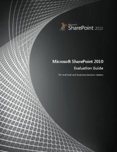 Microsoft SharePoint 2010 Evaluation Guide - Gowi