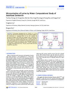 Microsolvation of Lysine by Water ... - American Chemical Society