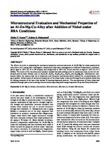 Microstructural Evaluation and Mechanical Properties of an Al-Zn-Mg ...