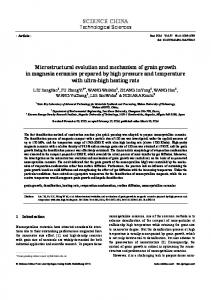 Microstructural evolution and mechanism of grain growth in magnesia ...