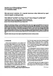 Microstructural evolution of a recycled aluminum alloy ... - Springer Link