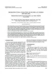 microstructural evolution of inconel 625 during hot rolling