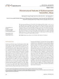 Microstructural Features of Multicomponent ... - ScienceCentral