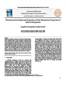 Microstructural Study and Evaluation of Few Mechanical Properties of ...