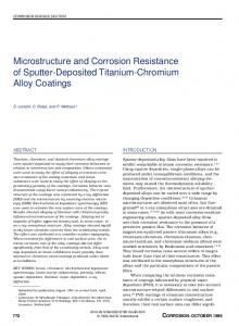 Microstructure and Corrosion Resistance of ... - Corrosion Journal