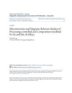 Microstructure and Magnetic Behavior Studies of Processing ...