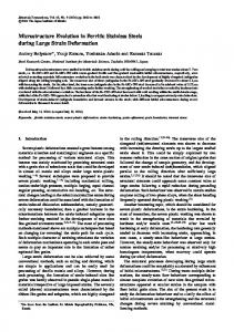 Microstructure Evolution in Ferritic Stainless Steels during Large Strain ...