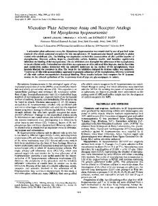 Microtiter Plate Adherence Assay and Receptor Analogs for ...