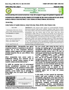 MICROWAVE-ASSISTED RAPID GREEN SYNTHESIS OF SILVER ...