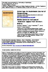 Middle Cambrian molluscs of 'Australian' aspect from ...