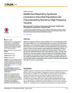 Middle East Respiratory Syndrome Coronavirus Intra-Host ...
