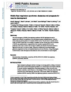 Middle East respiratory syndrome: obstacles and