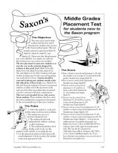 Middle Grades Placement Test