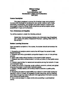 Midland College Syllabus Communications 1307 Introduction to ...