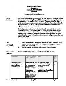 Midland College Syllabus Spring 2010 BUSI_2302 Business Law II ...