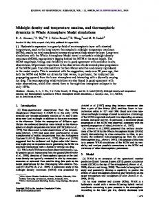 Midnight density and temperature maxima, and thermospheric ...