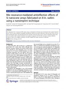 Mie resonance-mediated antireflection effects of Si ... - CiteSeerX