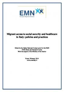 Migrant access to social security and healthcare in Italy - European ...