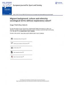 Migrant background, culture and ethnicity ...
