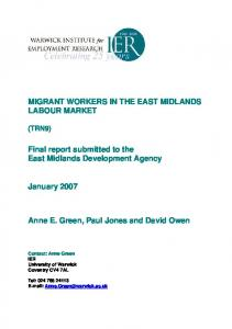 MIGRANT WORKERS IN THE EAST MIDLANDS LABOUR MARKET ...