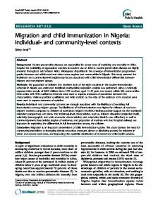 Migration and child immunization in Nigeria - BioMedSearch