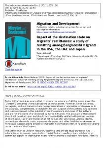 Migration and Development Impact of the destination state on migrants ...