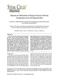 Migration and Differentiation of Myogenic ... - Wiley Online Library